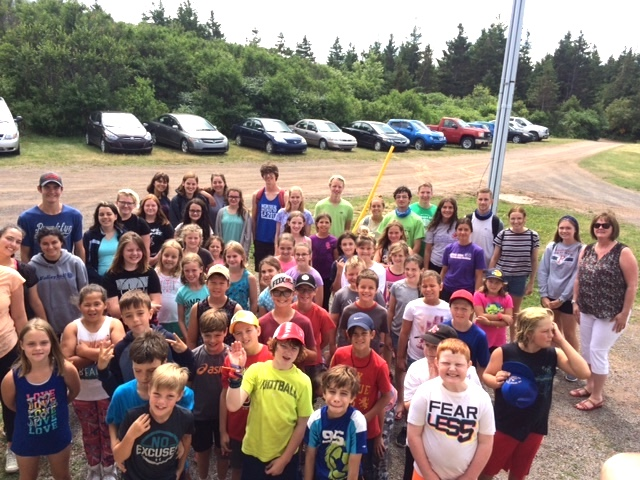 group shot of happy campers at Camp Geddie