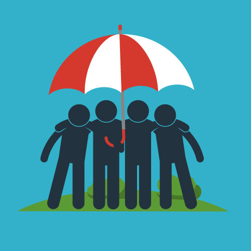 Illustration of various people under an umbrella with their broker