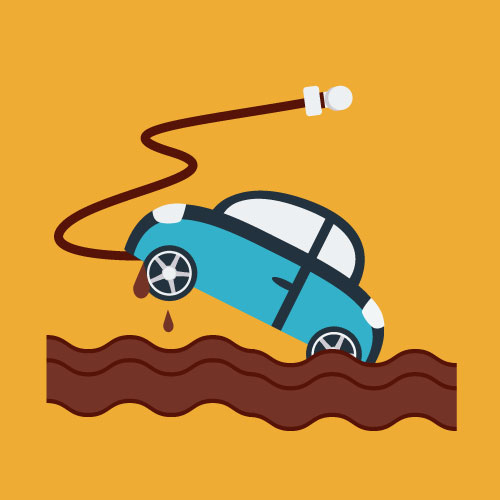 Illustration of car stuck in mud and hitch broke loose