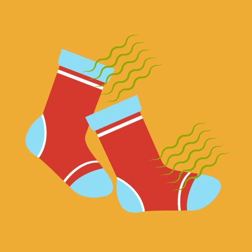 Illustration of a pair of red, stinky socks