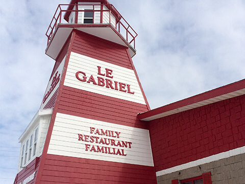 Le Gabriel lighthouse sign in Cheticamp